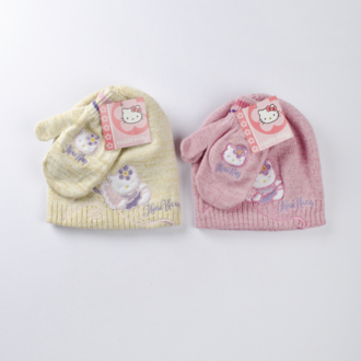 Baby set hat with gloves Kitty